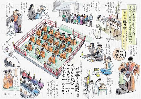 「観月祭絵図」から(神道文化学部4年 二宮さん作製)