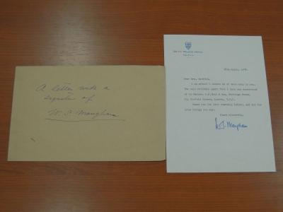 モームの直筆の手紙