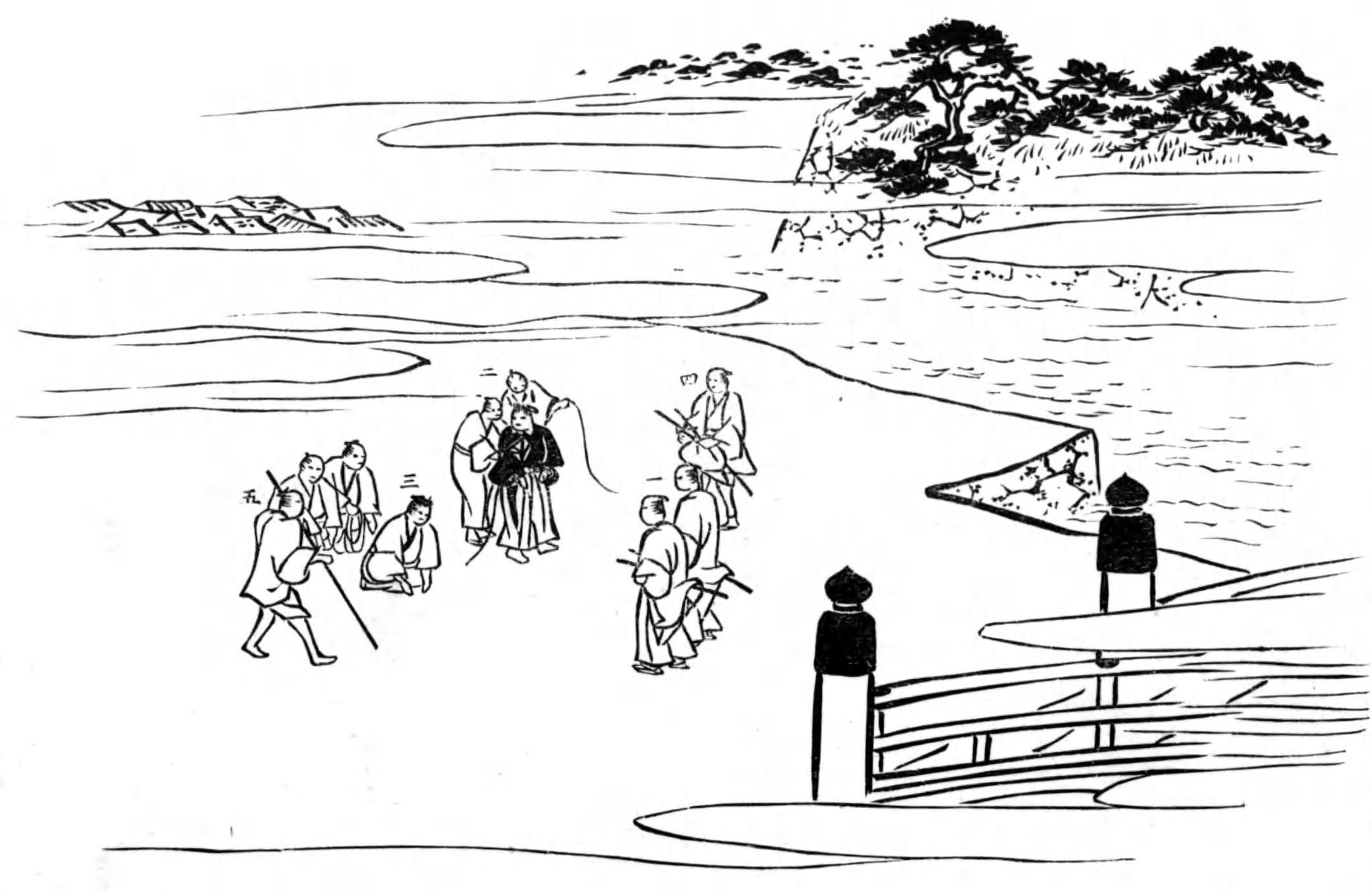 佐久間長敬著『刑罪詳説』より「追放者廓外門前払ノ図」。「公事方御定書」以前に行われていた「追放刑」は江戸の町の治安維持を狙ったものだが、矛盾や弊害も抱えていた。(写真:国立国会図書館)